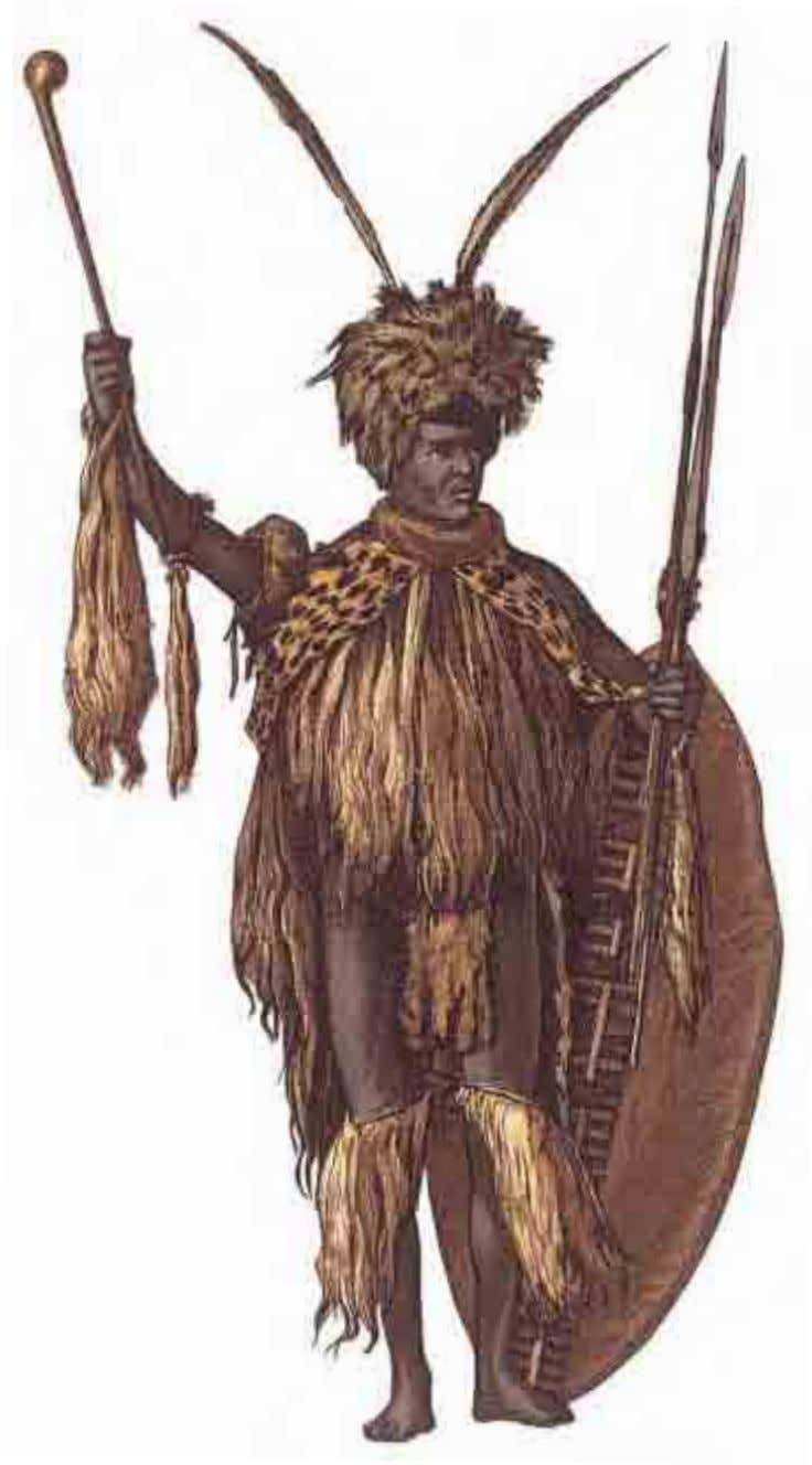 AFRICA This Zulu chief wears a leopard skin on his chest and animal fur around his