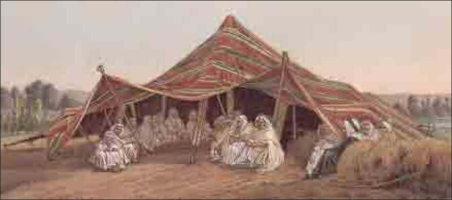 AFRICA The tent of a nomadic Arab tribe is shown in this image. Arab women hide