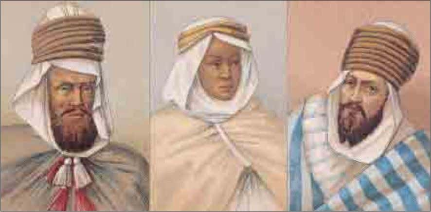 NORTH AFRICA These men wear different styles of turbans and haiks (an outer robe). The haik