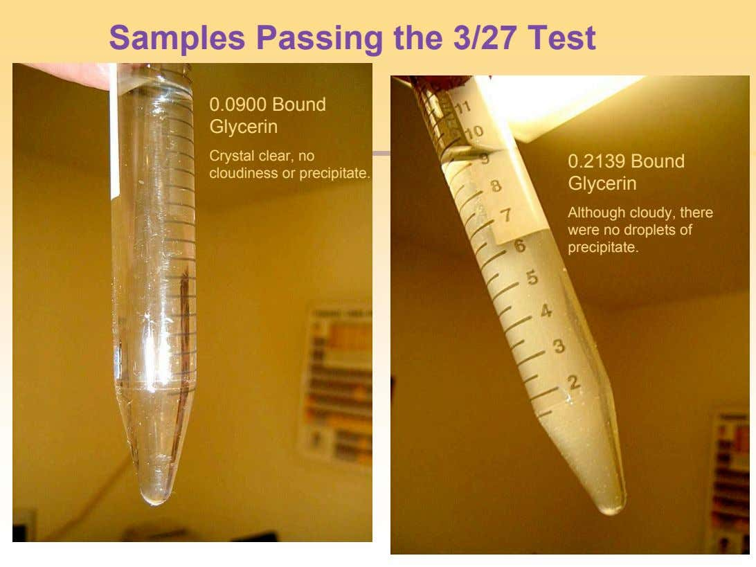 Samples Passing the 3/27 Test 0.0900 Bound Glycerin Crystal clear, no cloudiness or precipitate. 0.2139 Bound