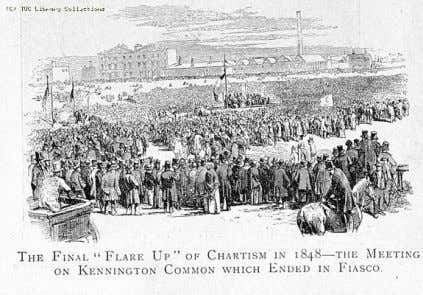 "William Lovett Chartist demonstration on Kennington Common, 1848 ""The Final 'Flare Up' of Chartism in 1848-The"