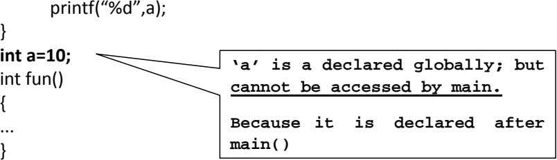 "printf(""%d"",a); } int a=10; int fun() 'a' is a declared globally; but cannot be accessed"