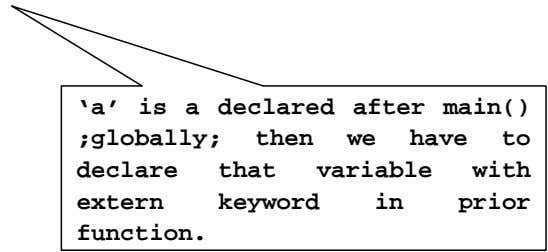 'a' is a declared after main() ;globally; then we have to declare that variable with