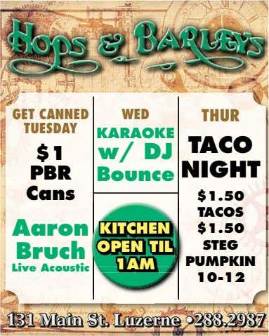 GET CANNED WED THUR TUESDAY KARAOKE TACO $1 w/ DJ NIGHT PBR Bounce Cans $1.50