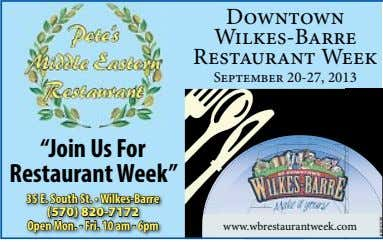 "Downtown Wilkes-Barre Restaurant Week September 20-27, 2013 ""Join Us For Restaurant Week"" 35 E. South"