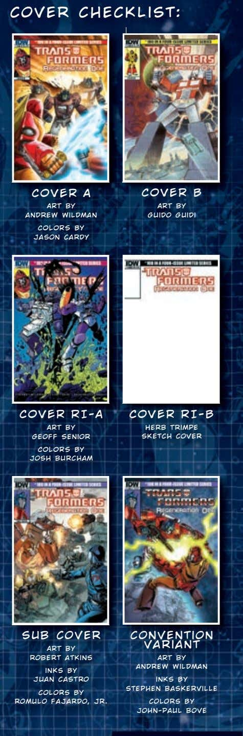 cover checklis t: COVER A COVER B ART by ART by andrew wildman Guido Guidi COLORS