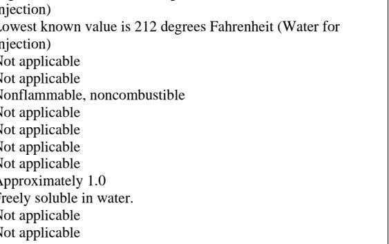 Not applicable Not applicable Not applicable Approximately 1.0 Freely soluble in water. Not applicable Not applicable