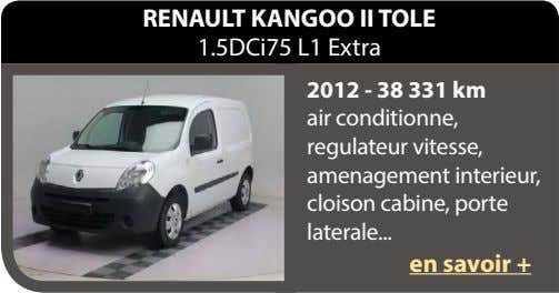 RENAULT KANGOO II TOLE 1.5DCi75 L1 Extra 2012 - 38 331 km air conditionne, regulateur