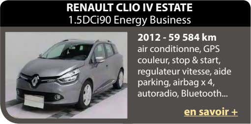 RENAULT CLIO IV ESTATE 1.5DCi90 Energy Business 2012 - 59 584 km air conditionne, GPS