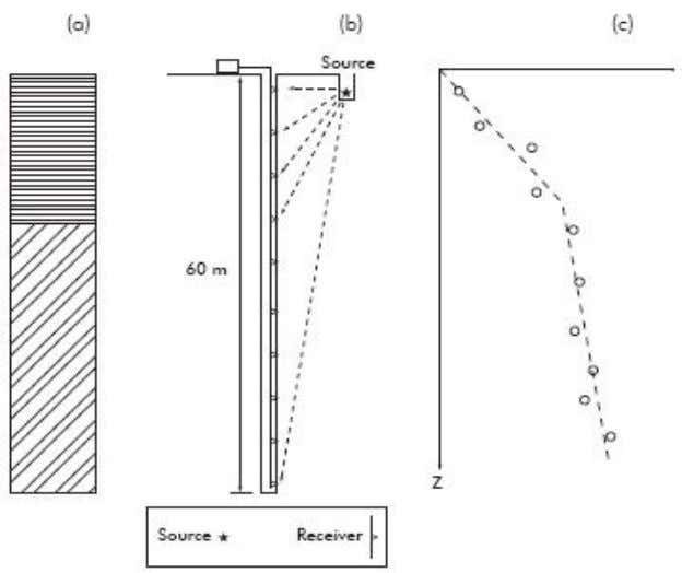 Figure 7.2: Principles of downhole survey. (a) lithologic profile, (b) Field deployment with a source