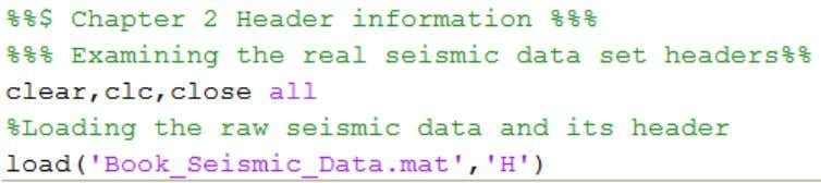 Figure 2.1: Part of Matlab code which gives the Header. Figure 2.2: Part of Matlab
