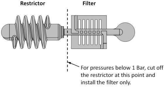 The following diagram shows how to remove the filter: To install the flow restrictor/filter, hold it