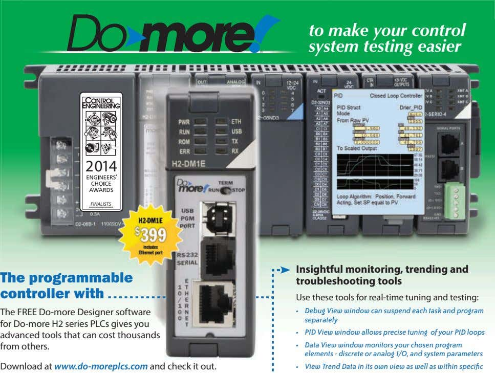 Do more to make your control ® system testing easier 2014 FINALISTS The programmable controller