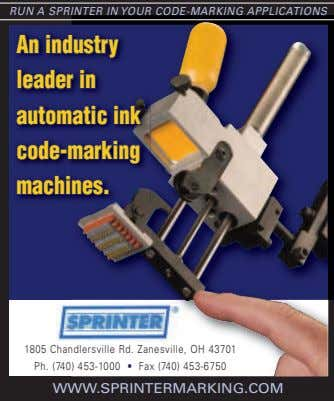 RUN A SPRINTER IN YOUR CODE-MARKING APPLICATIONS AnAn industryindustry leaderleader inin automaticautomatic inkink