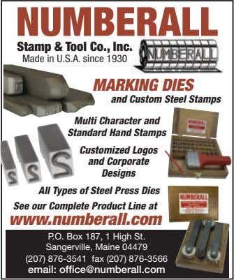 NUMBERALL Stamp & Tool Co., Inc. Made in U.S.A. since 1930 MARKING DIES and Custom