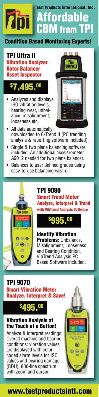 Test Products International, Inc. Affordable CBM from TPI Condition Based Monitoring Experts! TPI Ultra II