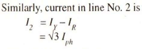Since all line currents are equal in magnitude i.e., I = I = I = I