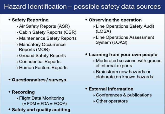 Hazard Identification – possible safety data sources • Safety Reporting • Observing the operation Air