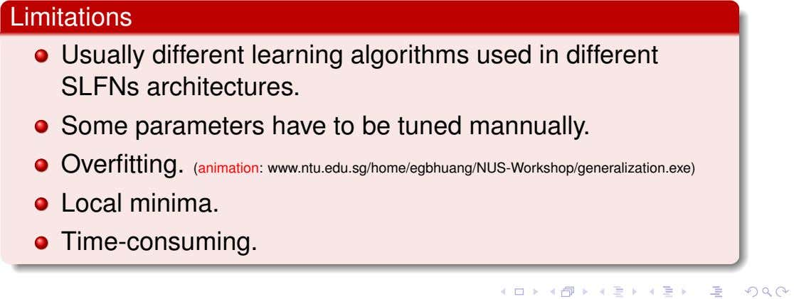 Limitations Usually different learning algorithms used in different SLFNs architectures. Some parameters have to be
