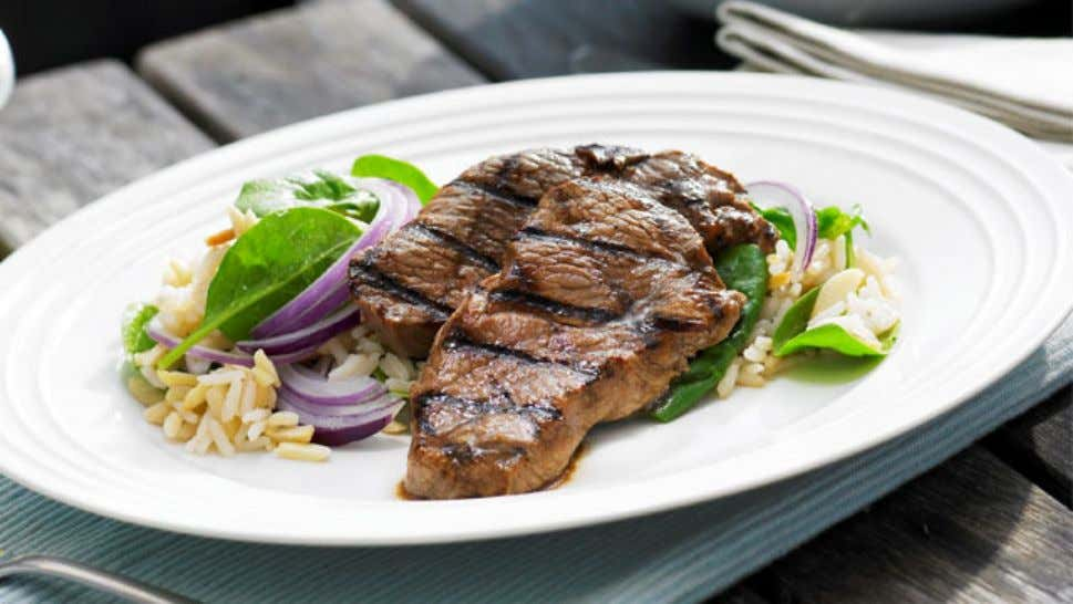 Balsamic Lamb with Spinach and Rice Salad Ingredients 1 cup (250ml) Campbell's Real Stock - Beef