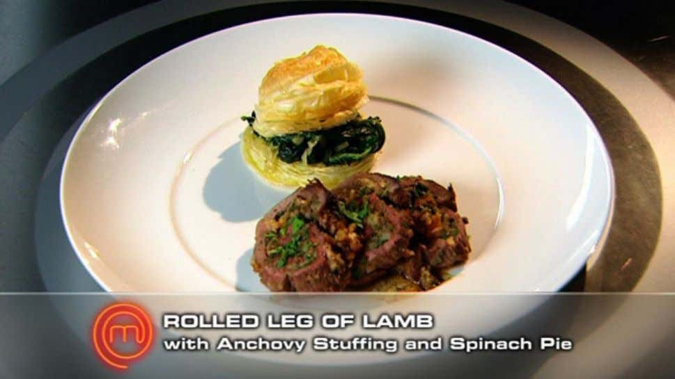 Rolled Leg of Lamb with Anchovy Stuffing and Spinach Pie Ingredients Leg of lamb, deboned and