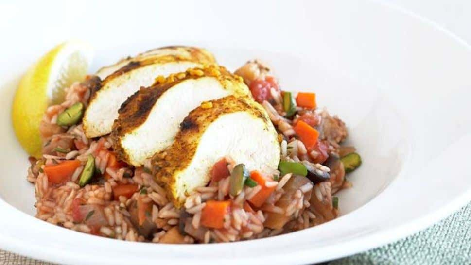 Middle Eastern Barbecue Chicken Pilau Ingredients 2 chicken breast fillets 1 x 375ml pack Campbell's Real
