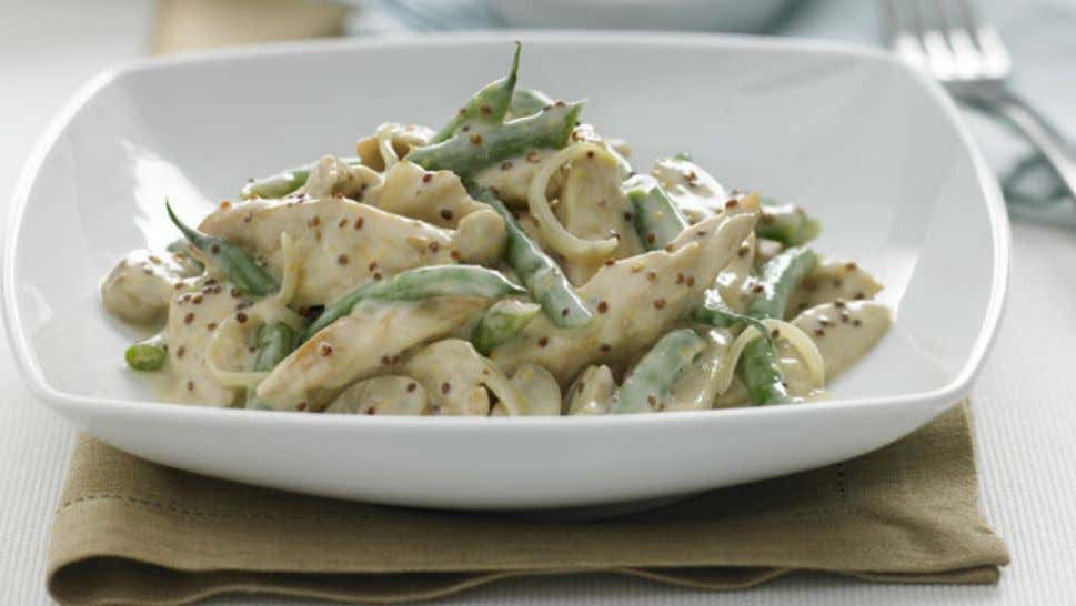 Creamy Honey Mustard Chicken Ingredients 1 tbsp oil 500g chicken breast strips 200g button mushrooms, sliced