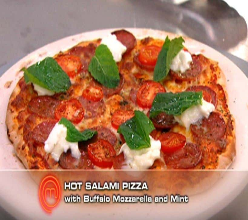 Hot Salami Pizza Ingredients Pizza base (makes 4 bases) 15g dried yeast 20g caster sugar 20g