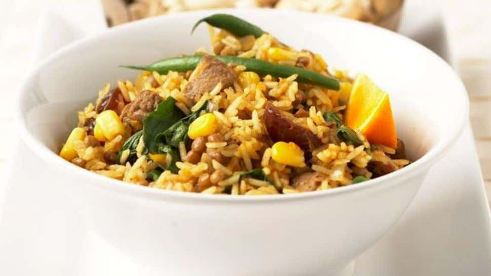 Spiced Beef and Orange Biriyani Ingredients 1 tbsp oil 500g rump steak, cut into small dice