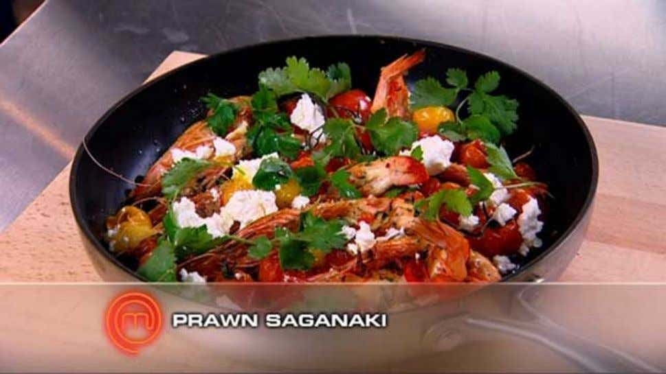 Prawn Saganaki Ingredients 8 green king prawns 2 cloves garlic, peeled, thinly sliced 1 long red