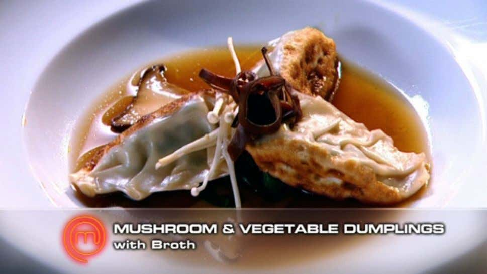 Mushroom and Vegetable Dumplings With Broth Ingredients Broth 3 cups chicken stock 1 tbs caster sugar