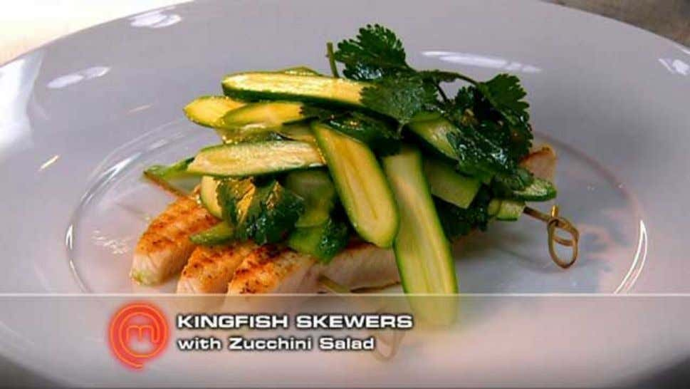 Kingfish Skewers with Zucchini Salad Ingredients 500g piece kingfish, skin removed 1 lime 3 tablespoons olive