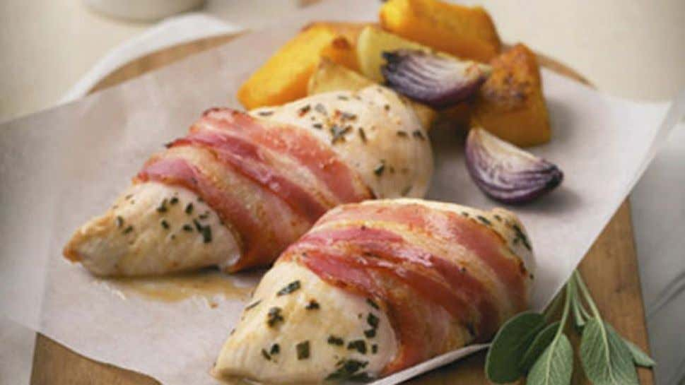 Baked Bacon Wrapped Chicken with Vegetables Ingredients 1 tbsp dried sage leaves 4 chicken breast fillets