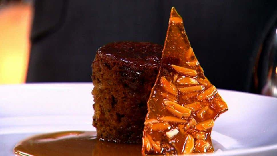 Date Pudding with Butterscotch Sauce & Almond Praline Ingredients 180g dates, pitted and roughly chopped 1¼