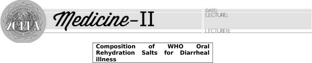 ACUTE Dr. Solante Composition of WHO Oral Rehydration Salts for Diarrheal illness