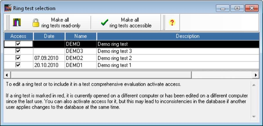select it from the selection box on the top of the main window. Figure 2: Database
