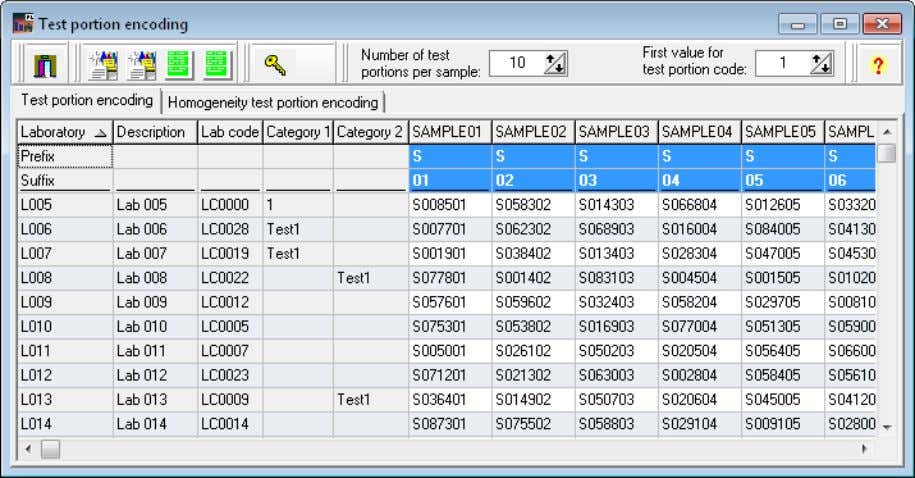 40 ProLab Plus – Manual . Menu Database Figure 21: Database – Encoding – Test portions