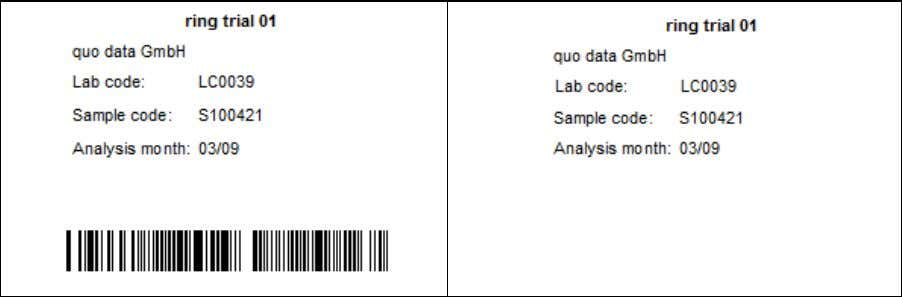 barcode must be adapted to the re- quired label format. Figure 22: Label for test portions
