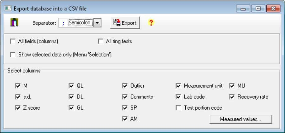 ProLab Plus – Manual . Menu Database 49 Figure 32: Database – Export – CSV files