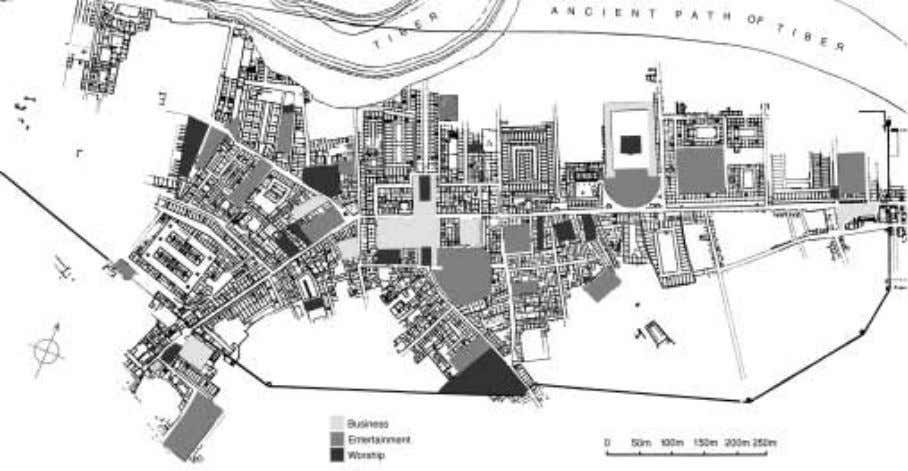 FIGURE 35 Ostia. Plan showing spaces for business, entertainment, and worship. FIGURE 36 Ostia. Theater,