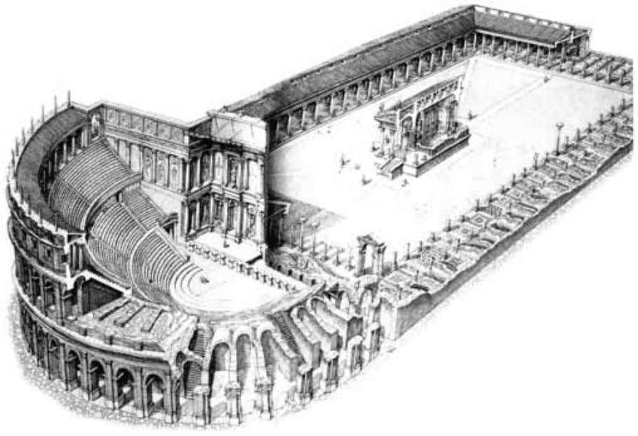 showing spaces for business, entertainment, and worship. FIGURE 36 Ostia. Theater, Forum of the Corporations, and
