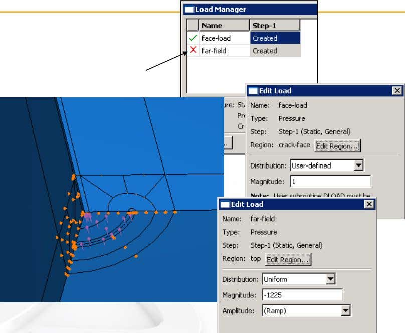 L3.24 Examples • Loads (axisymmetric and 3D) The far-field load is suppressed . Modeling Fracture and
