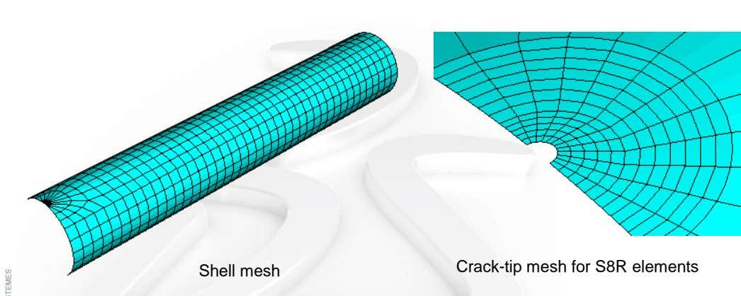 Crack-tip mesh for S8R elements Shell mesh