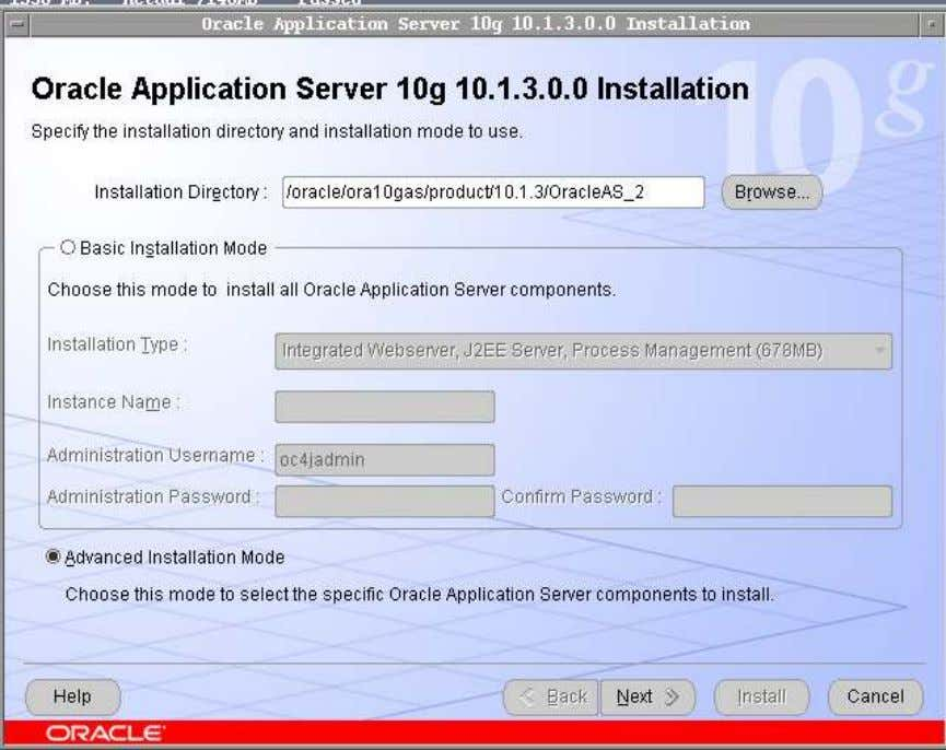 installation Directory in the space provided and also select Advance installation mode and click on Next