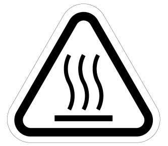 lose your footing as well. (3) High-temperature warning label Fig. 1.6 (c) High-temperature warning label Description