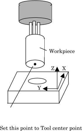 Workpiece Z X Y Set this point to Tool center point