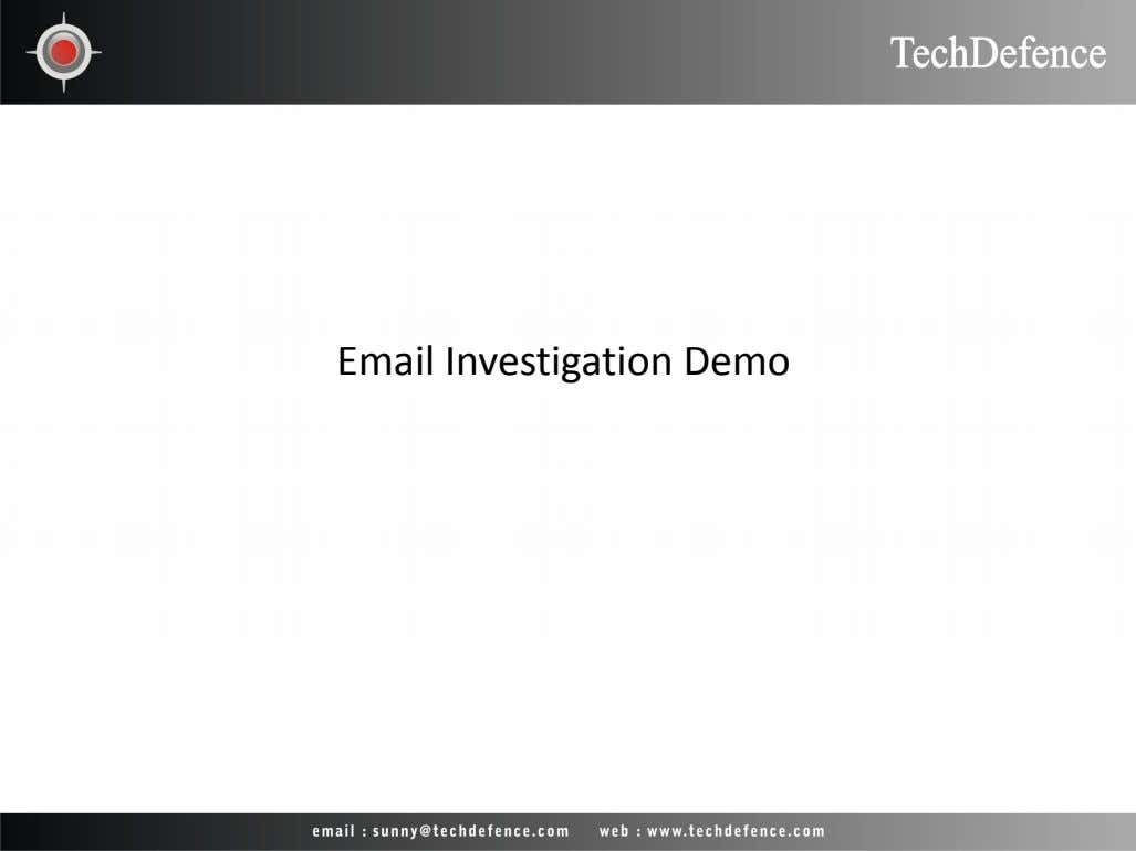 Email Investigation Demo