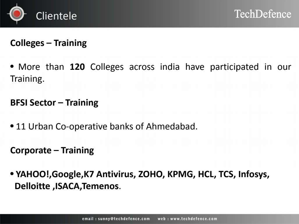 Clientele Colleges – Training • More than 120 Colleges across india have participated in our