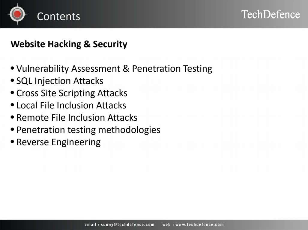 Contents Website Hacking & Security • Vulnerability Assessment & Penetration Testing • SQL Injection