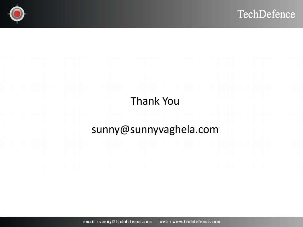 Thank You sunny@sunnyvaghela.com